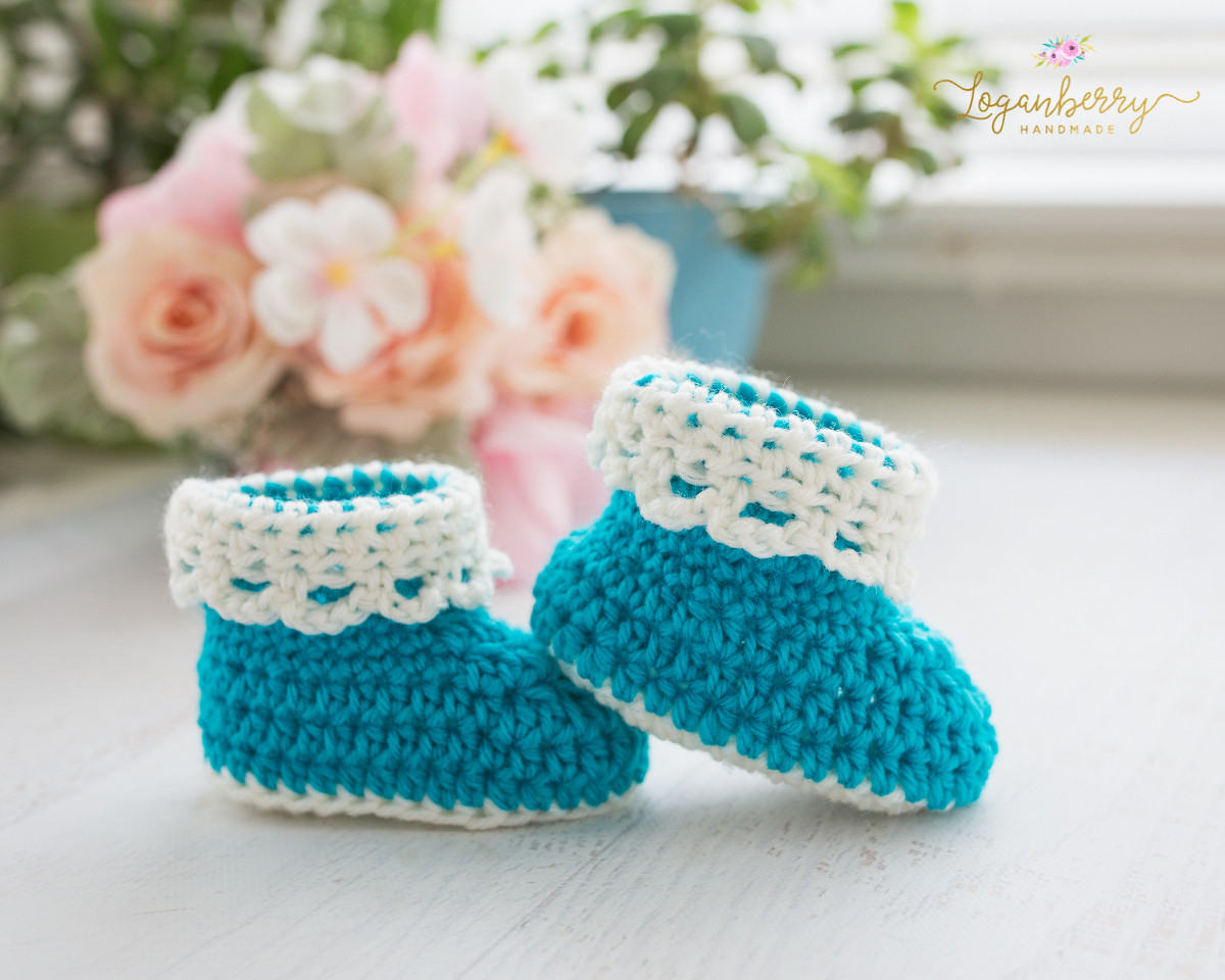 Awesome Lace Trim Baby Booties – Free Crochet Pattern Loganberry Crochet Baby socks Of Beautiful Crochet Baby Booties Patterns for Sweet Little Feet Crochet Baby socks