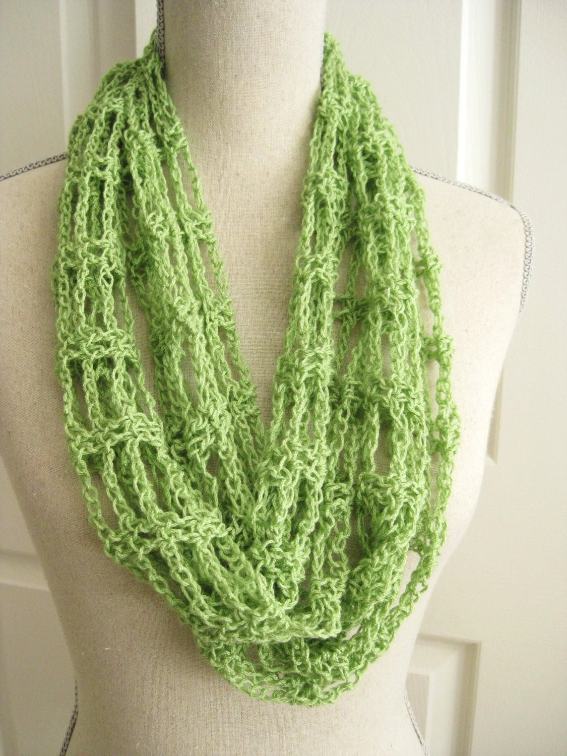 Lacy Cowl Scarf Crocheted Spring Green Crochet Circle Scarf