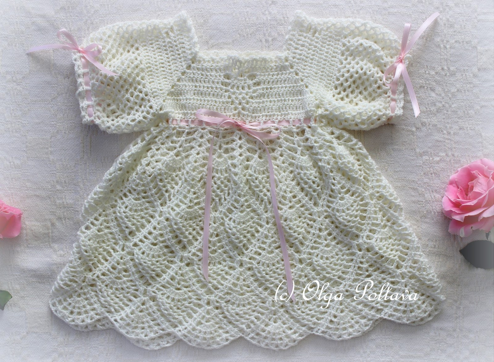 Lacy Crochet Whipped Cream Dress Free Pattern from