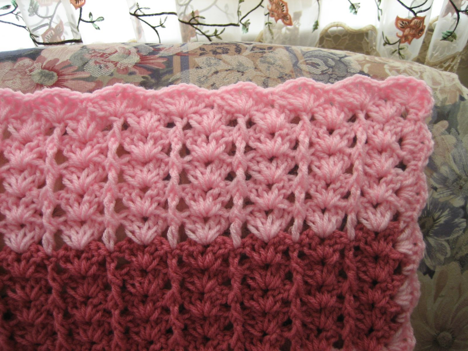 Lacy Shades of Pink Shells Afghan