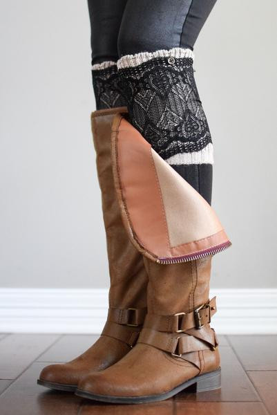 Awesome Latte & Black Lace Layered Boot Cuffs – Bootcuffsocks Lace Boot Cuffs Of Awesome 50 Pictures Lace Boot Cuffs