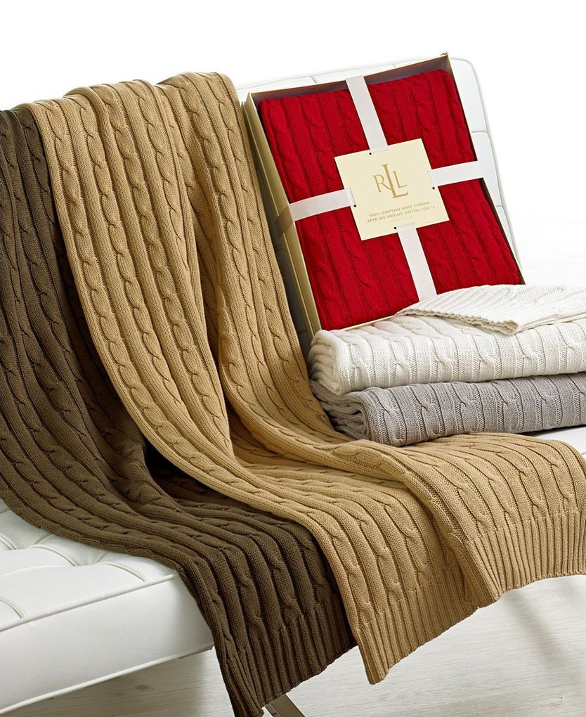 Lauren Ralph Lauren Cable Knit Throw Blanket Olive