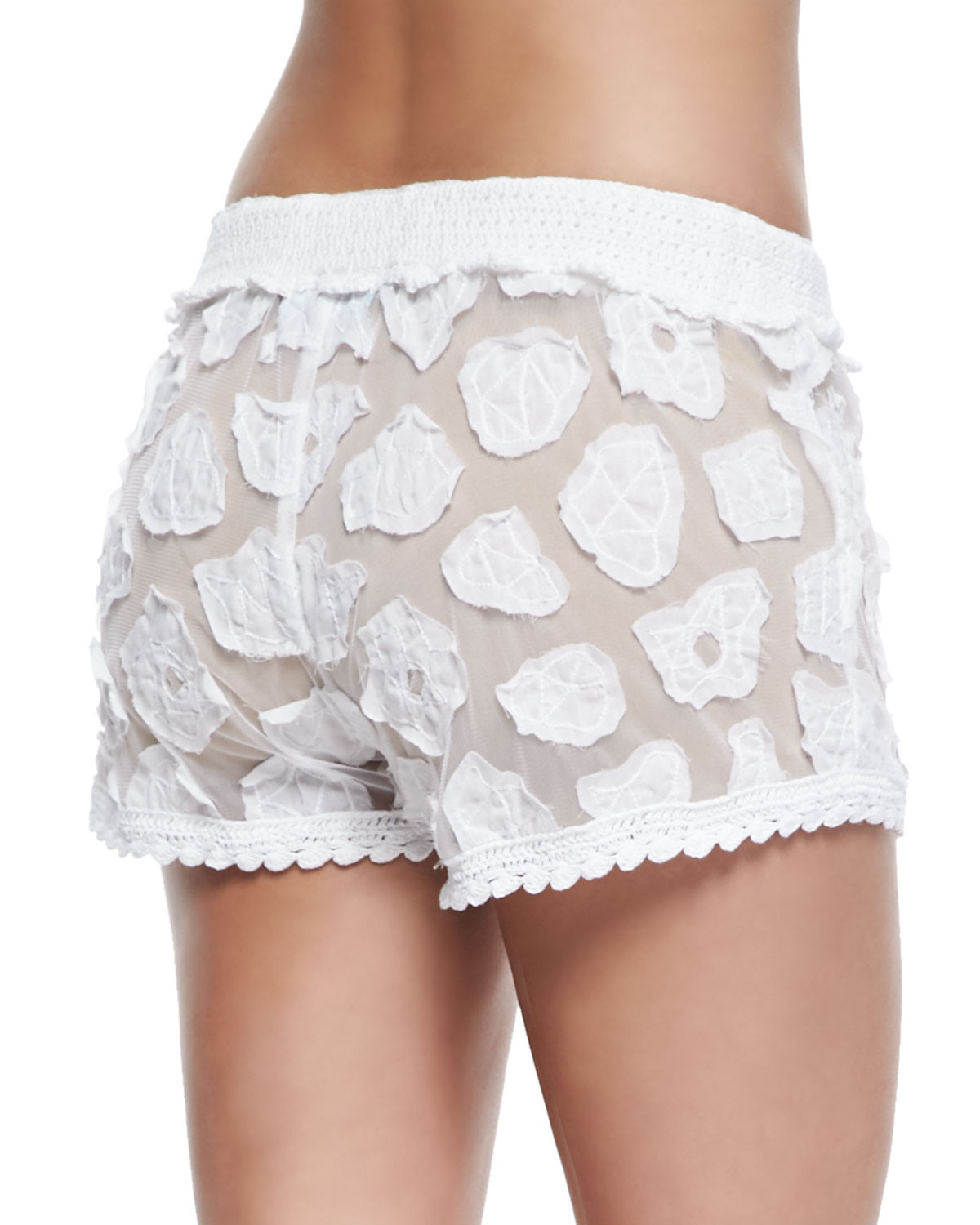 Awesome Letarte Crochet Tie Waist Shorts In White White Crochet Shorts Of Amazing 40 Photos White Crochet Shorts