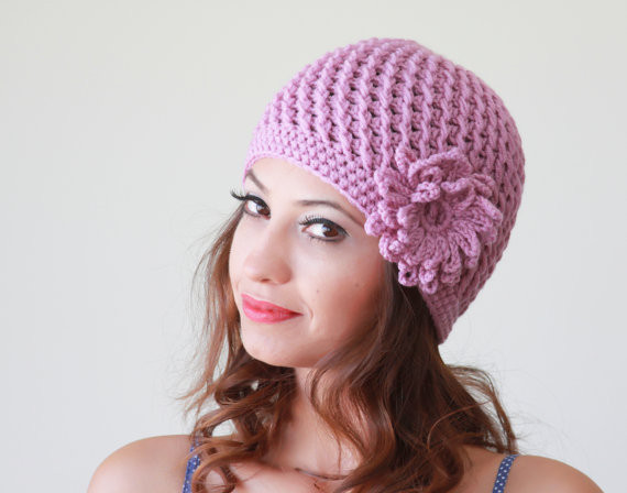 Lilac Crochet cap Women hat Flower applique hat Hand