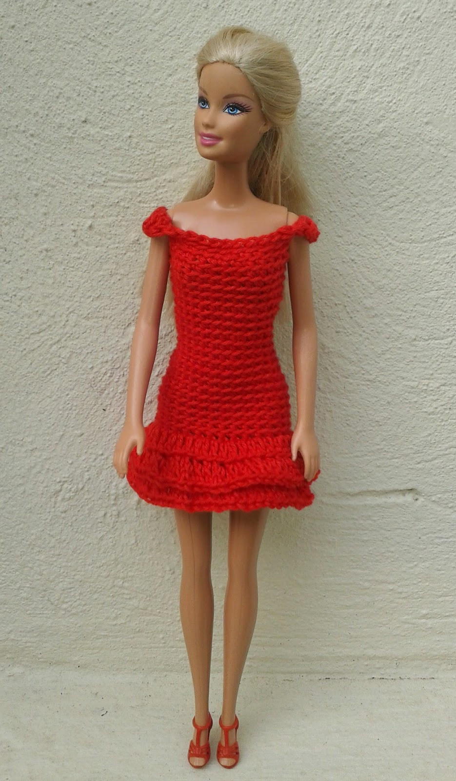 Linmary Knits Barbie in red crochet dresses