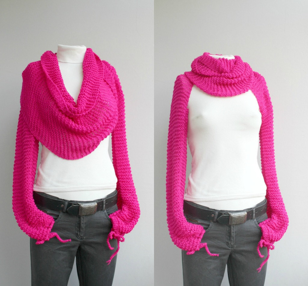 Awesome Long Sleeve Fuchsia Bolero Scarf Shawl Neckwarmer Christmas Scarf with Sleeves Of Lovely 40 Models Scarf with Sleeves