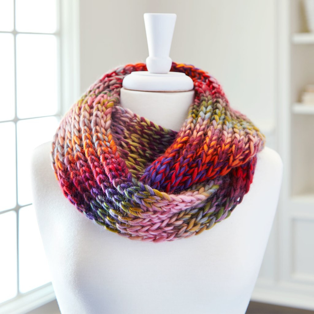 Awesome Loops & Threads Facets Infinity Knit Scarf Knitting Thread Of Amazing 48 Models Knitting Thread