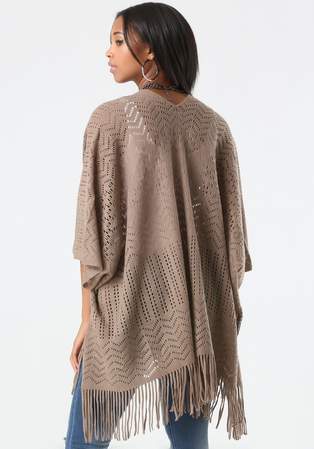 Awesome Lyst Bebe Pattern Knit Fringe Ruana In Brown Ruana Pattern Of Amazing 41 Pictures Ruana Pattern