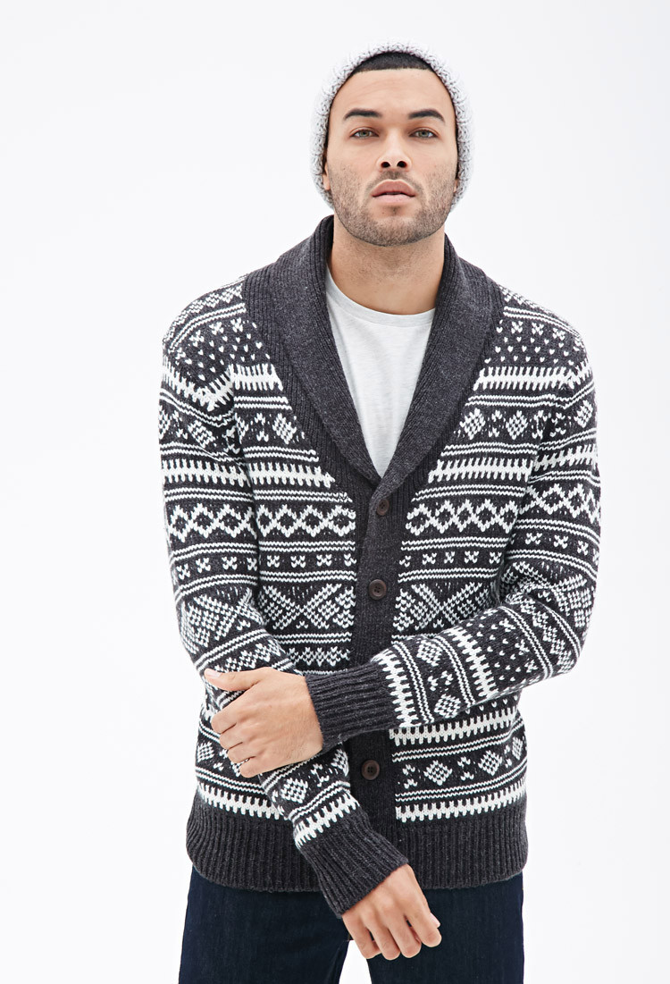 Awesome Lyst forever 21 Abstract Patterned Shawl Collar Cardigan Mens Patterned Cardigan Of Charming 50 Models Mens Patterned Cardigan
