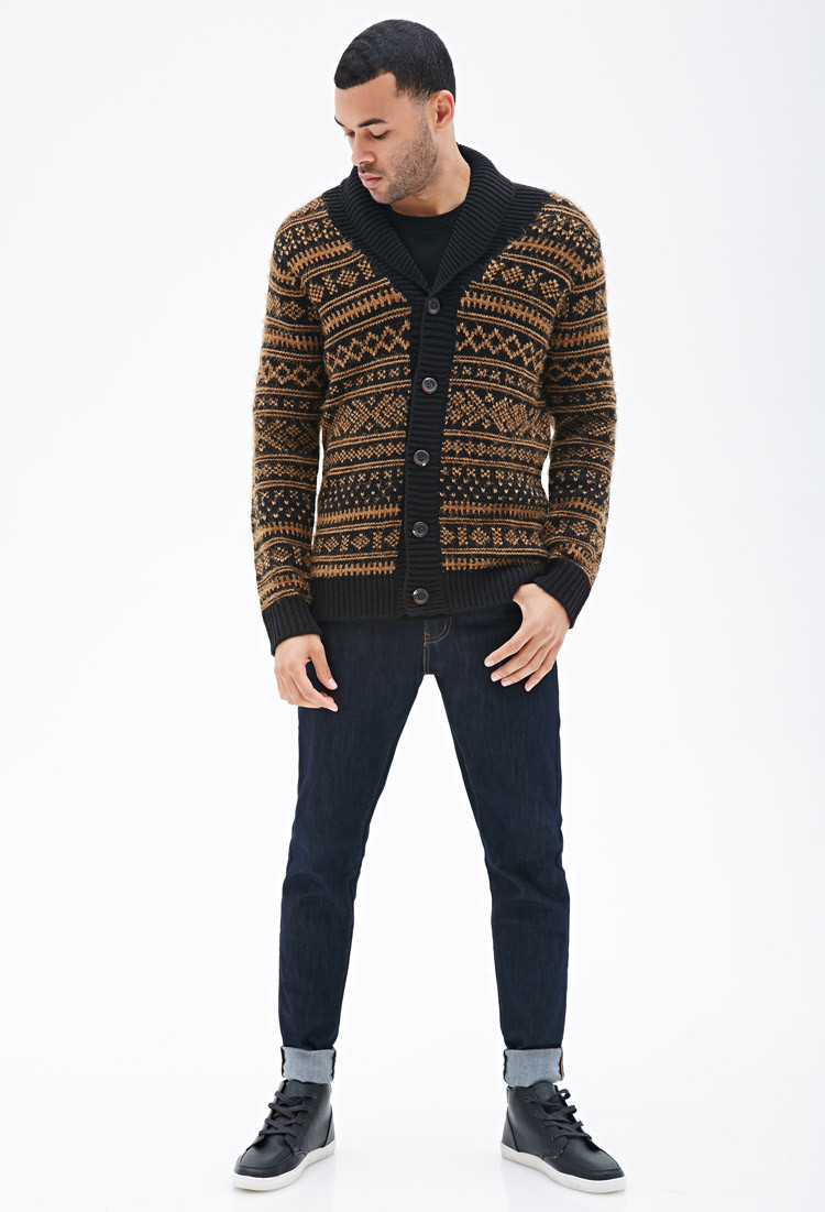 Awesome Lyst forever 21 Geo Patterned Shawl Collar Cardigan In Mens Patterned Cardigan Of Charming 50 Models Mens Patterned Cardigan