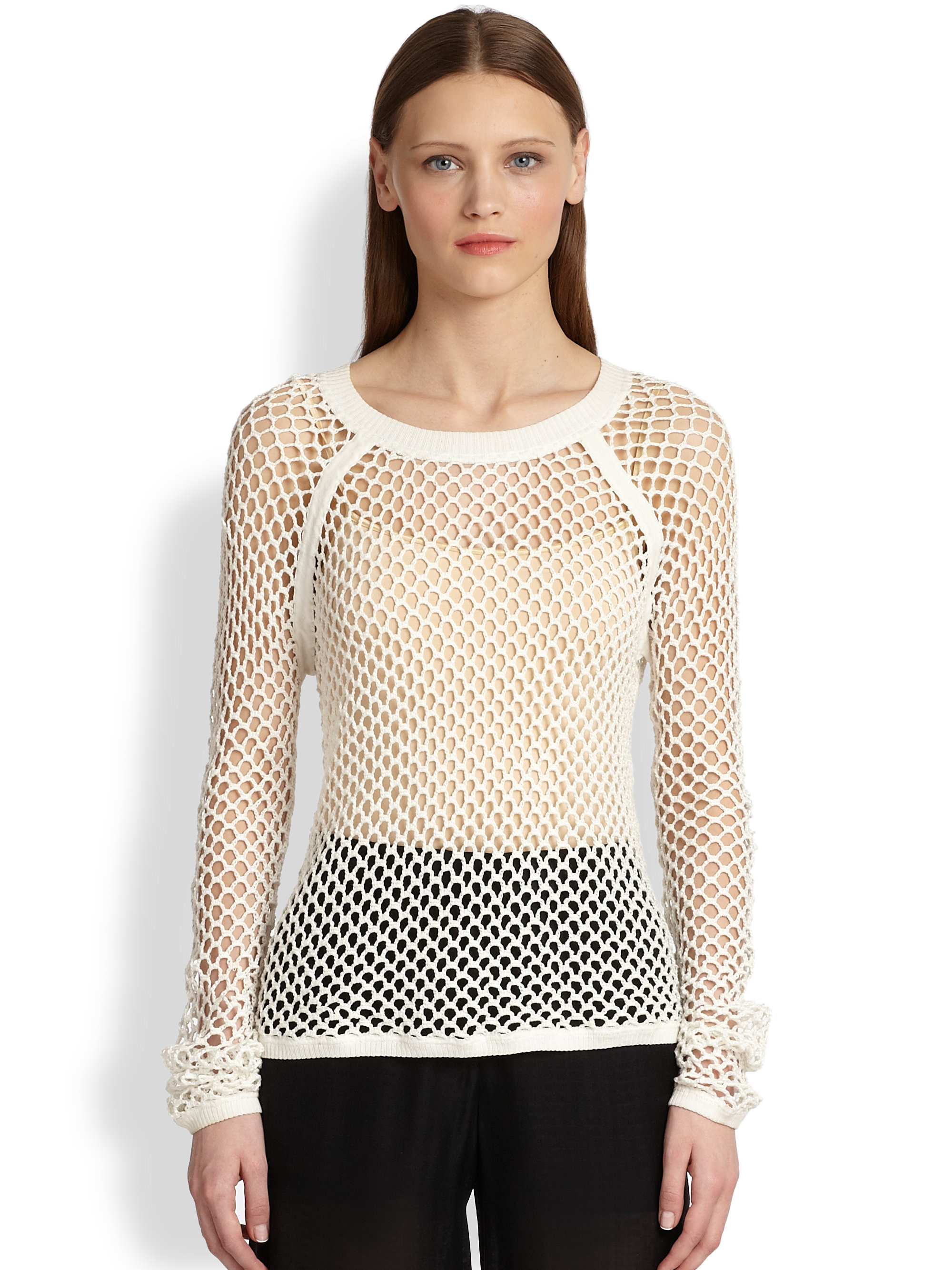 Awesome Lyst Tess Giberson Mesh Crochet Sweater In White White Crochet Sweater Of Wonderful 44 Ideas White Crochet Sweater