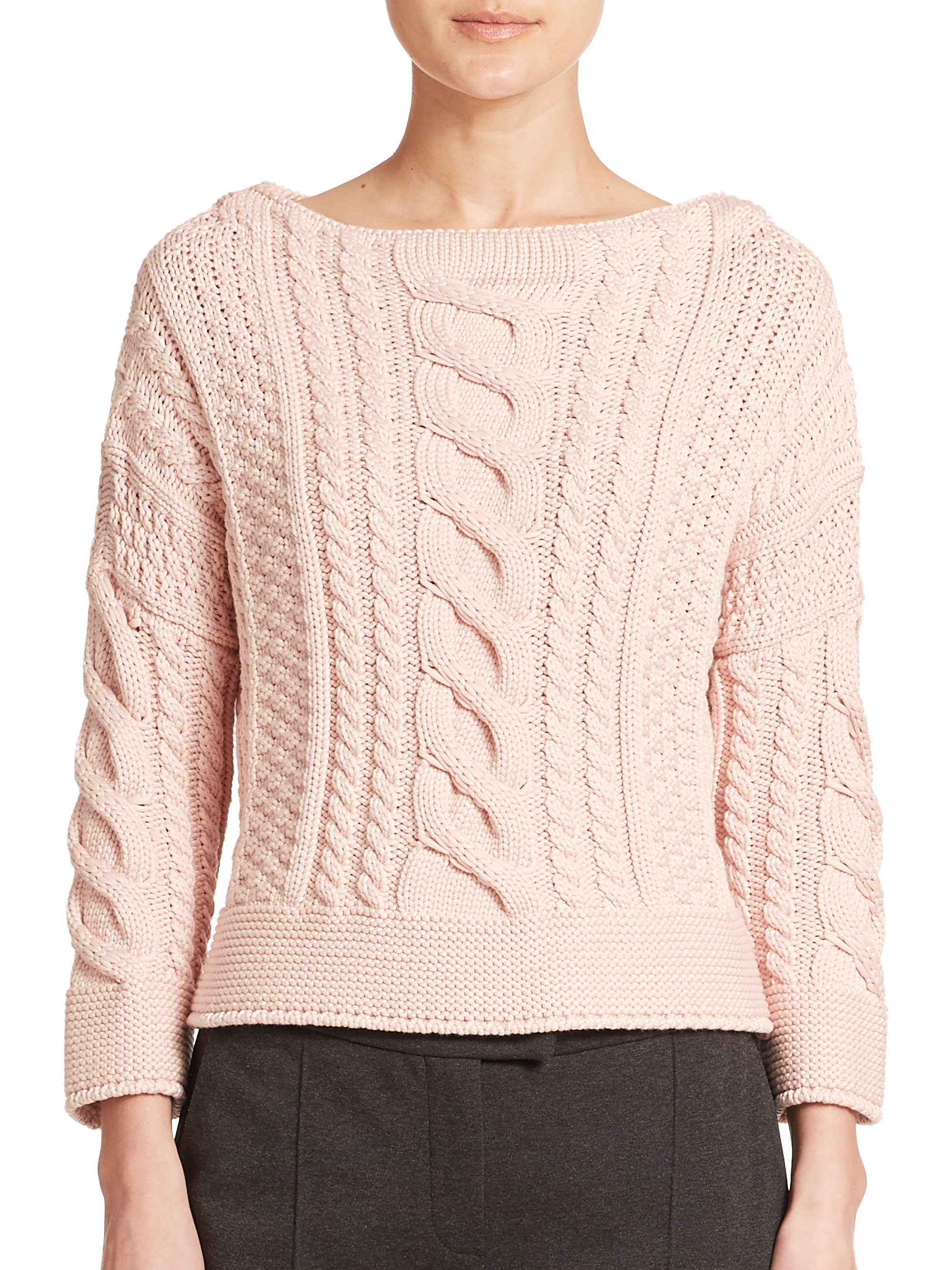 Awesome Lyst Weekend by Maxmara Rana Cable Knit Sweater In Pink Cable Knit Cardigan Sweater Of Wonderful 46 Models Cable Knit Cardigan Sweater