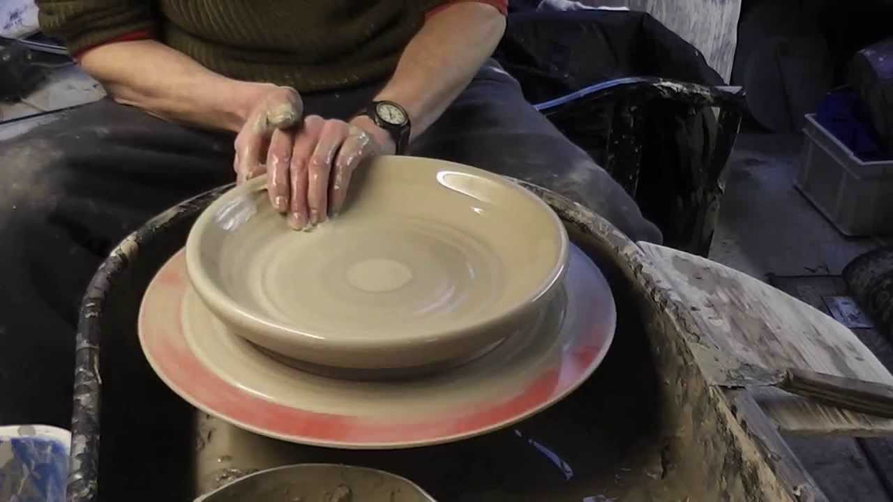 Making Trimming & Decorating a large pottery plate on