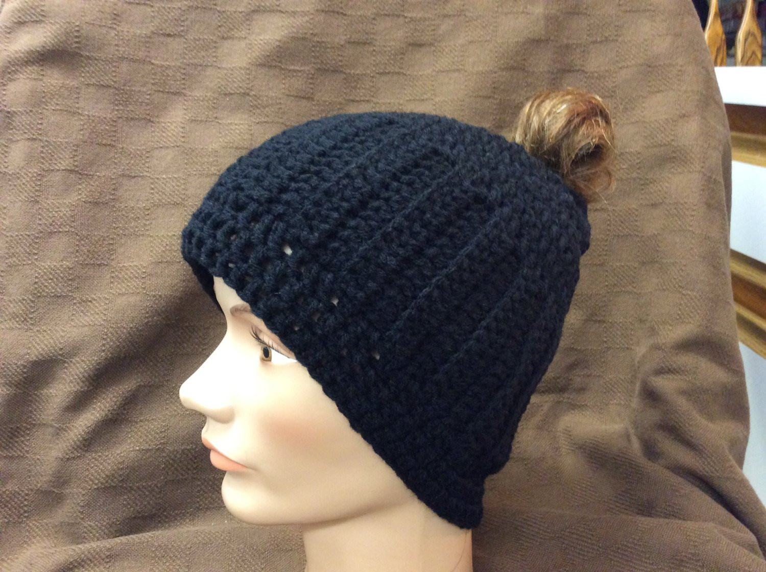 Awesome Man Bun Beanie Black Beanie Guy Ponytail Beanie Hand Stocking Cap with Ponytail Hole Of Unique 36 Models Stocking Cap with Ponytail Hole