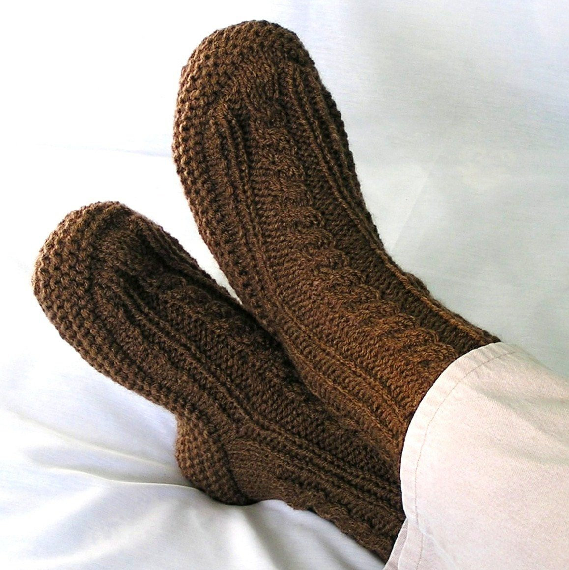 Mens Knitted Slippers Nutmeg Brown Cuffs with by knitwit4ever