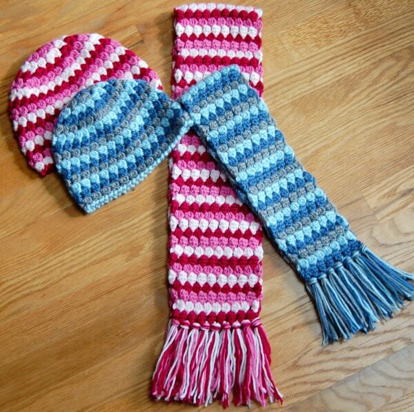 Mod Hat and Scarf Crochet Set Petals to Picots