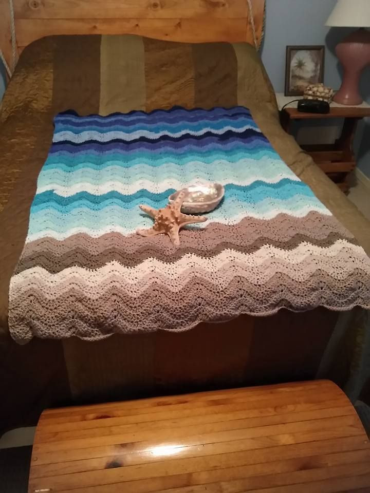 Awesome My Own Work Seashore Afghan Using Caron Cakes Yarn Caron Big Cakes Colors Of Wonderful 44 Photos Caron Big Cakes Colors