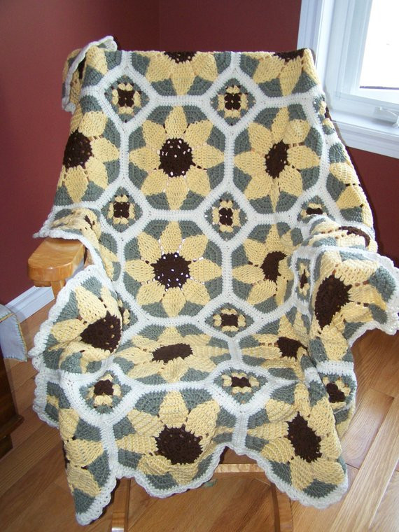 Awesome New Crocheted Sunflower Afghan by Hookinontheside On Etsy Sunflower Afghan Of Delightful 32 Pics Sunflower Afghan