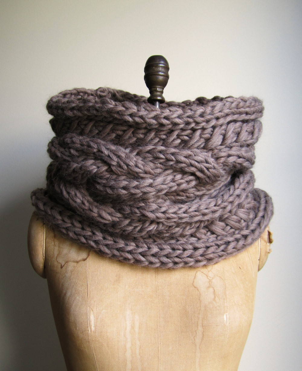 Oversized Cable knit cowl Walnut Infinity scarf by Happiknits