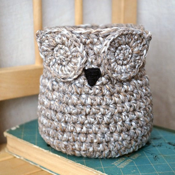 Awesome Owl Crochet Basket Handmade Container Home Decor Crochet Owl Basket Of Brilliant 47 Photos Crochet Owl Basket