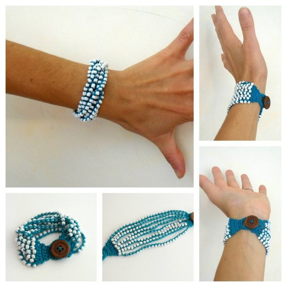 PDF Pattern Crocheted Beaded Bracelet Multiple strands