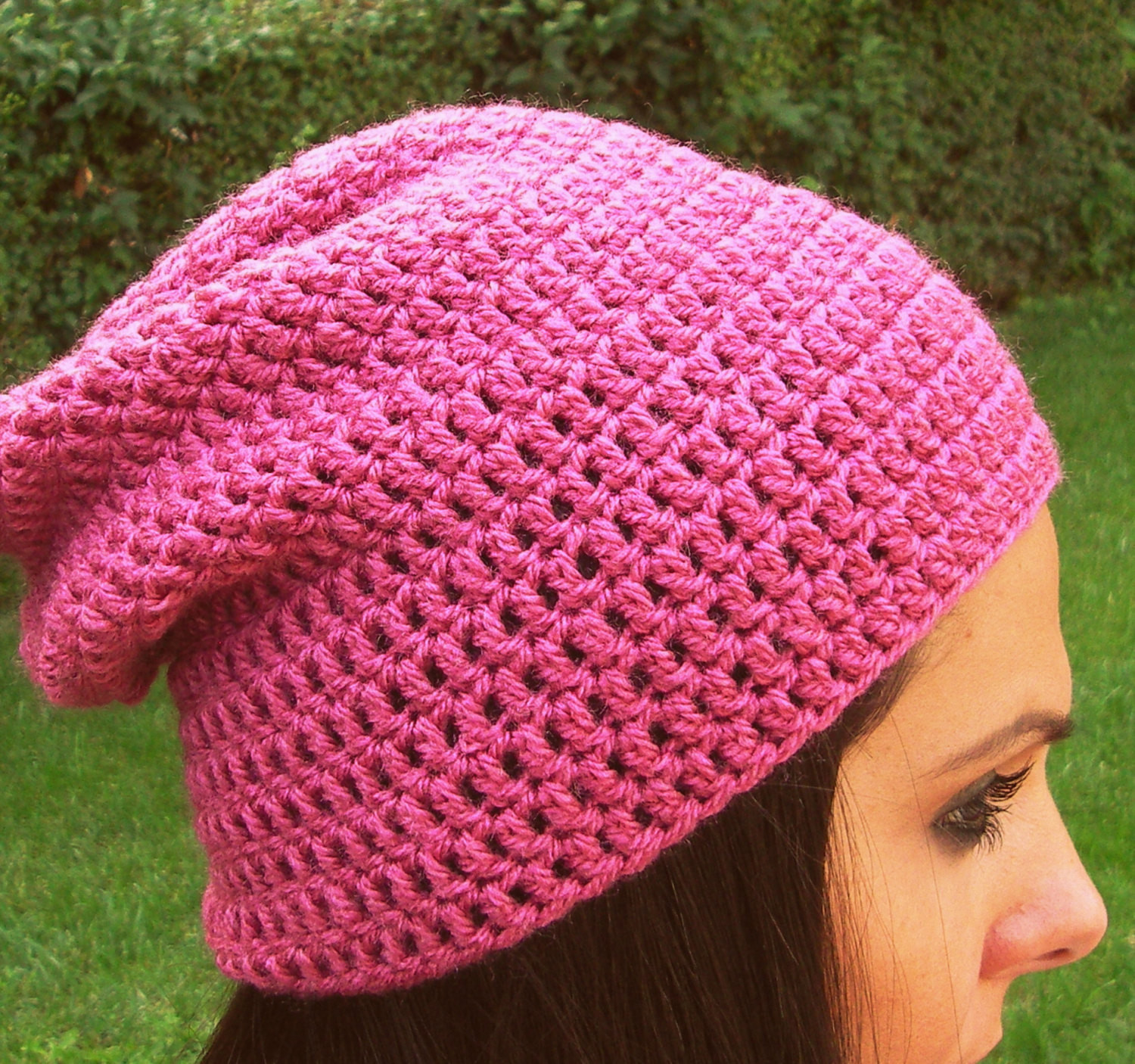 Pink crochet hat pink handmade hat pink woman hat pink