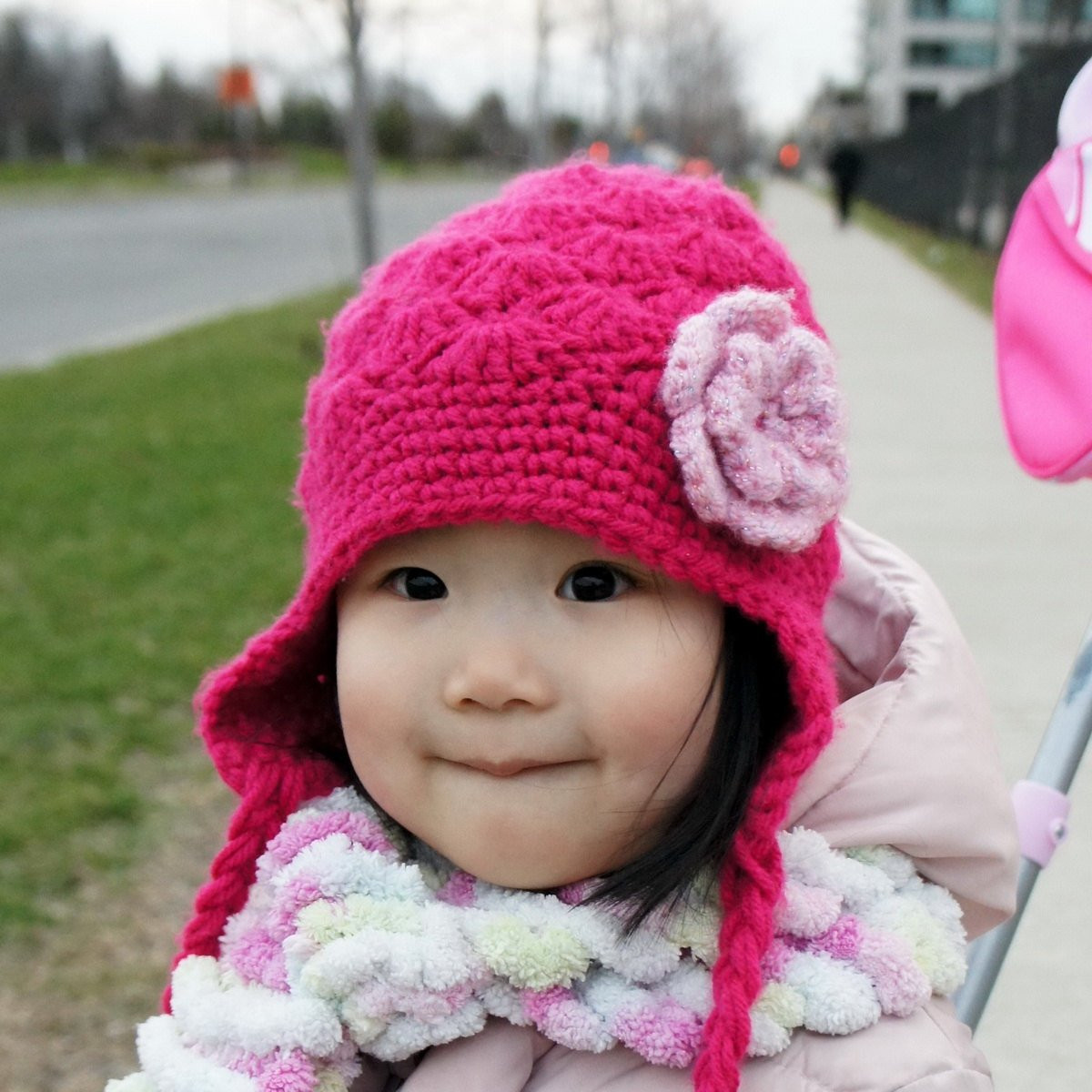 Pink Flower Crochet Hat Beanie Toque Crochet Baby Hat
