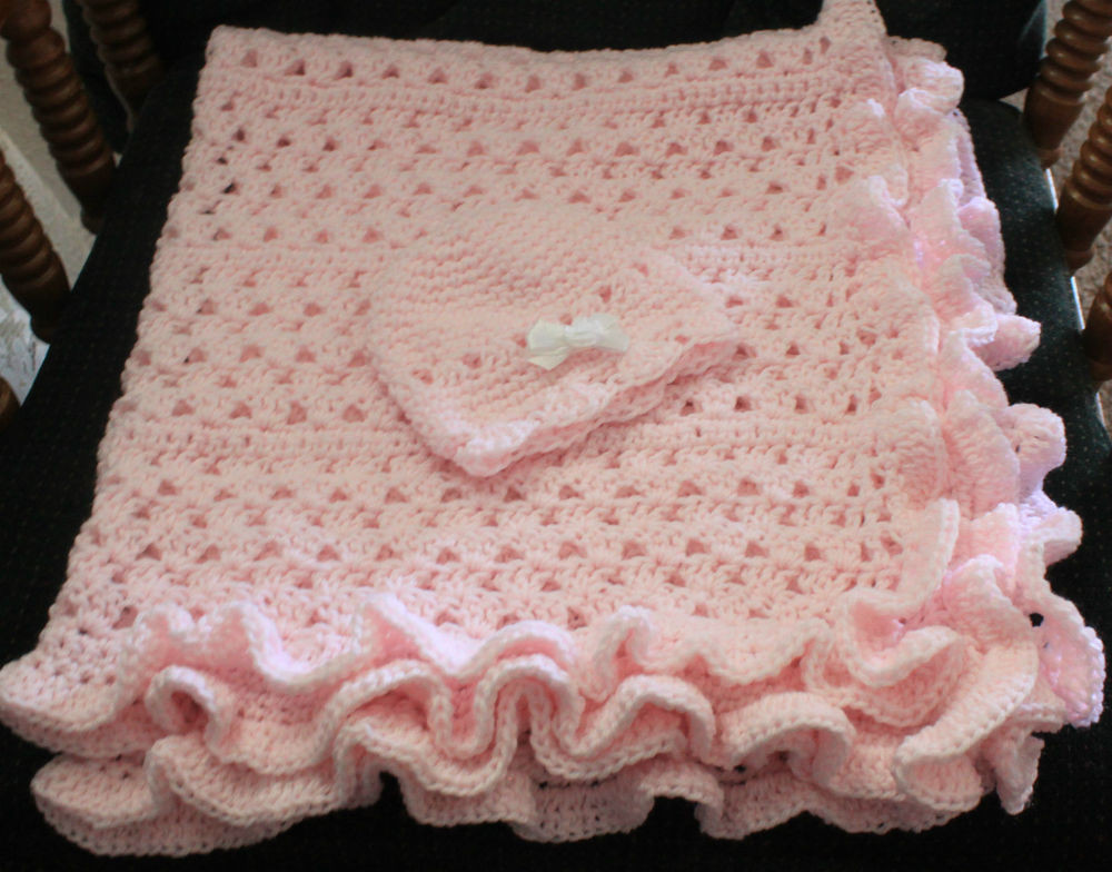 Awesome Pink Ruffle Hand Crochet Baby Blanket W Cute Cap Hand Crochet Baby Blanket Of Incredible 49 Pictures Hand Crochet Baby Blanket