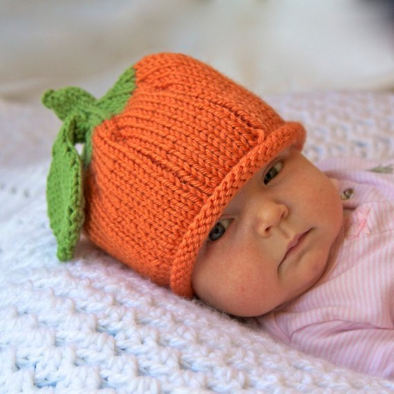 Pumpkin Knitted Baby Hat Infant Toddler Child sizes Fall