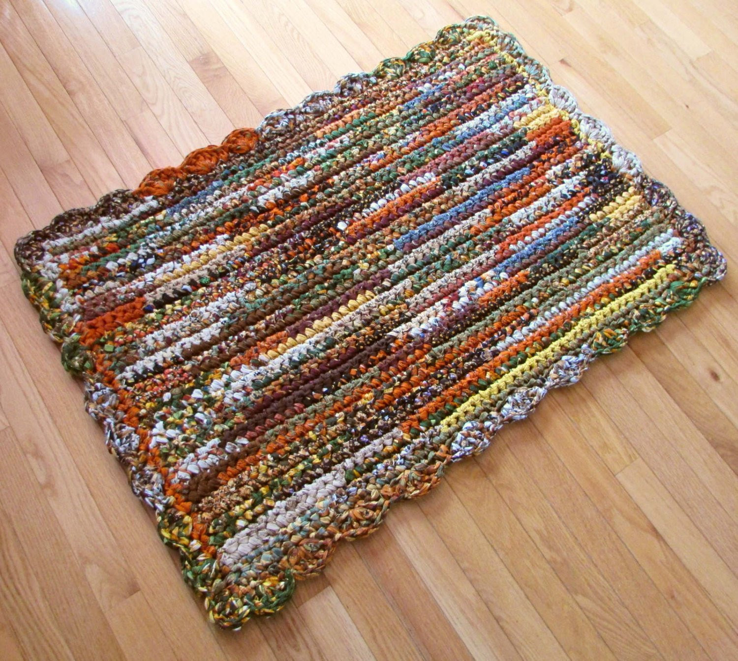 Awesome Rag Rug Rectangular Crocheted Cotton Fabric Autumn by Crochet Rug with Fabric Strips Of Adorable 46 Images Crochet Rug with Fabric Strips