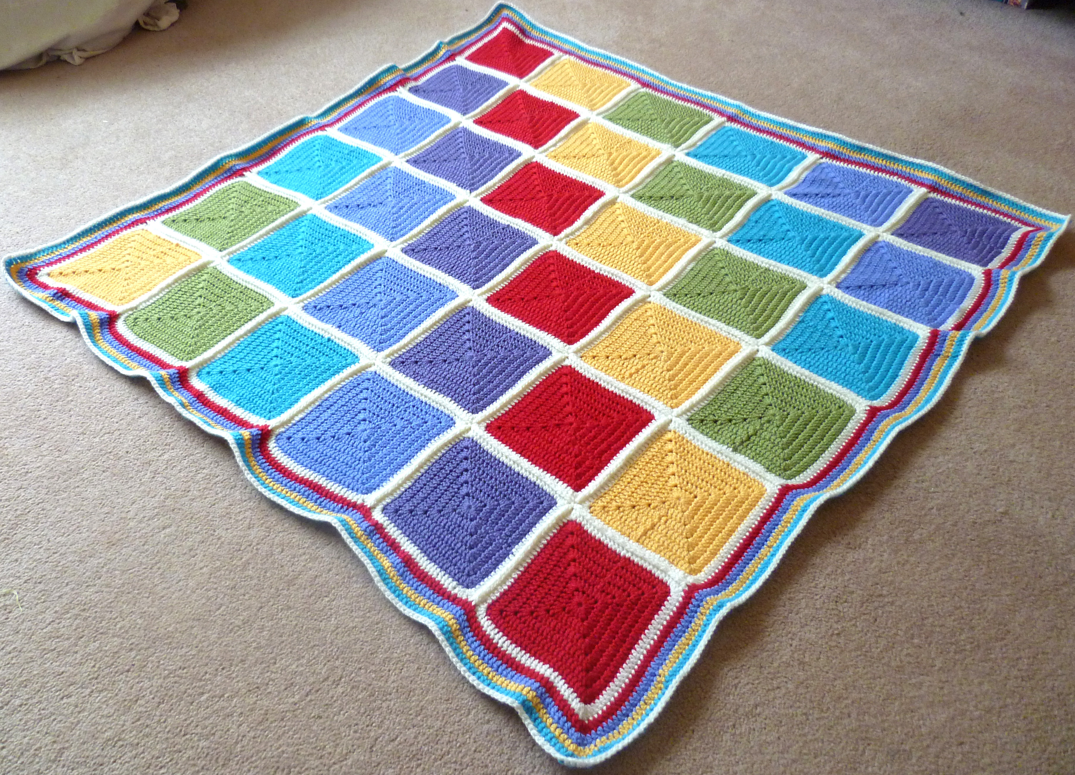 Rainbow squares crochet baby blanket – finished – Silver