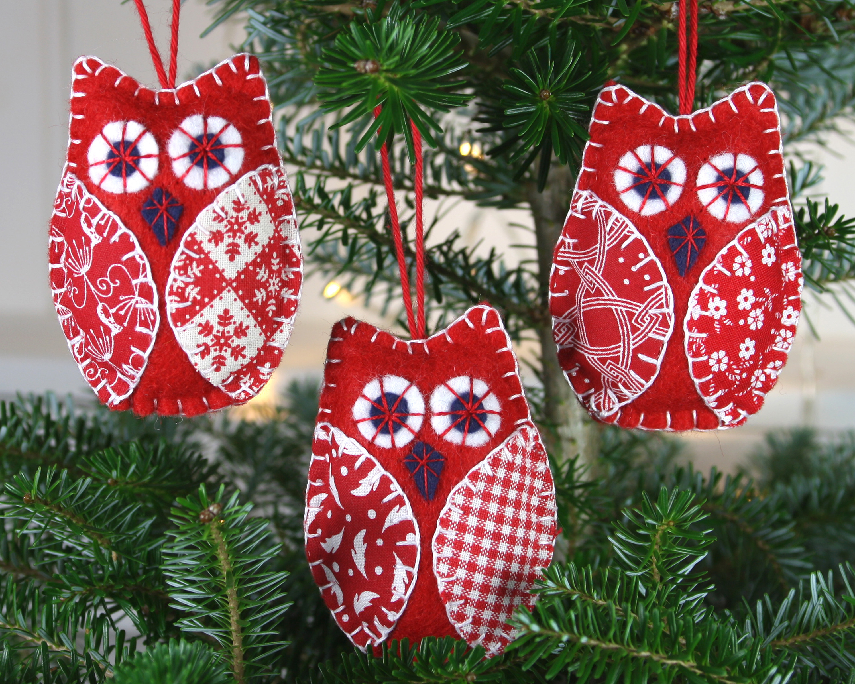 Awesome Red and White Felt Owl Christmas ornaments – Folt Bolt Shop Owl Christmas Decorations Of Delightful 49 Pics Owl Christmas Decorations