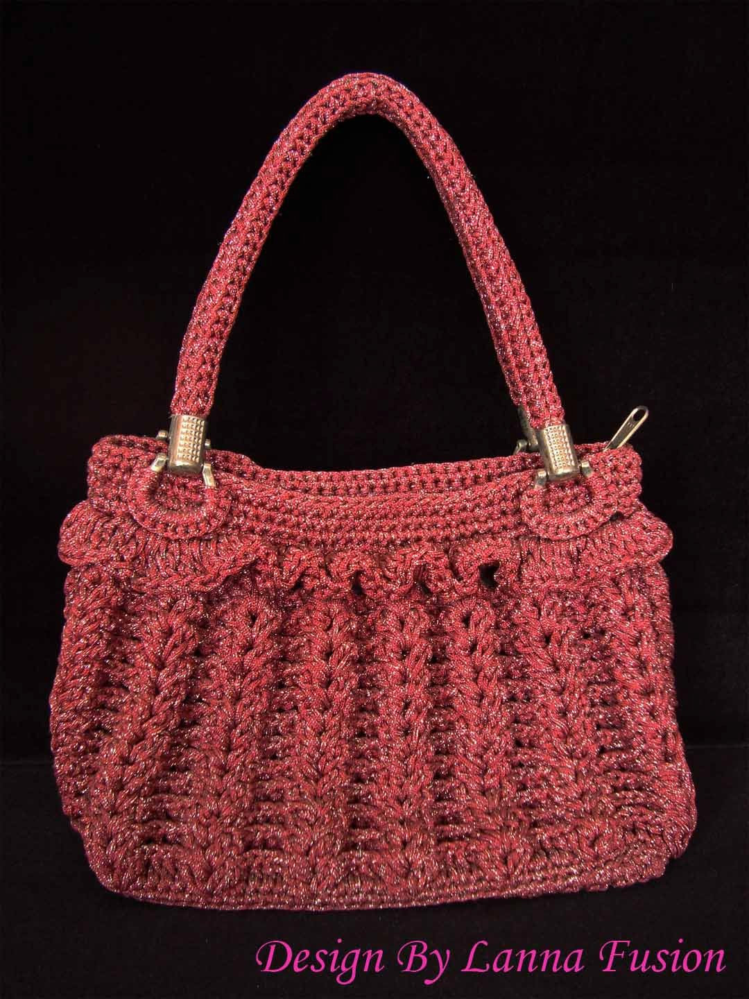 Red Crochet Handle bags Red Handbag Red Purse Red Tote Red