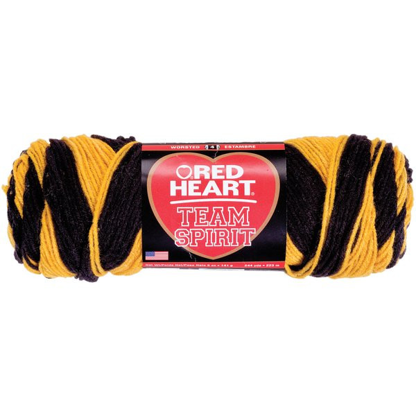 Red Heart Team Spirit YarnGold & Black Free Shipping