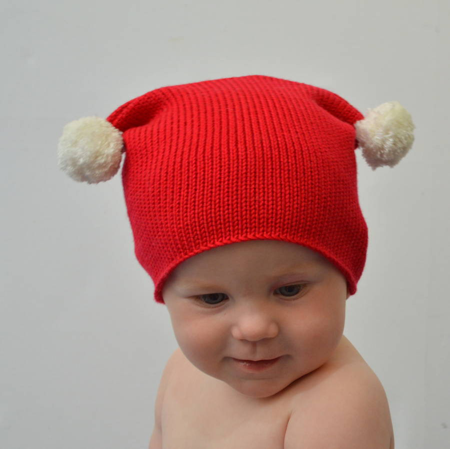 Awesome Red Knitted Christmas Bobble Hat by Smitten Knitted Christmas Hats Of Adorable 50 Models Knitted Christmas Hats