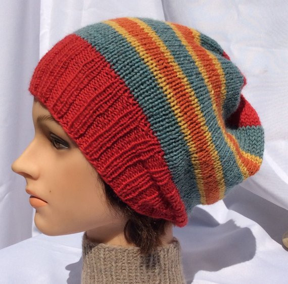 Awesome Red Striped Slouch Striped Slouch Hat Red Slouch Hat Knitted Red Slouchy Beanie Of New 50 Models Red Slouchy Beanie