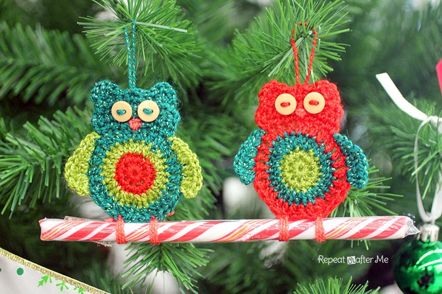 Awesome Repeat Crafter Me Crochet Owl Candy Cane ornaments Owl Christmas Decorations Of Delightful 49 Pics Owl Christmas Decorations