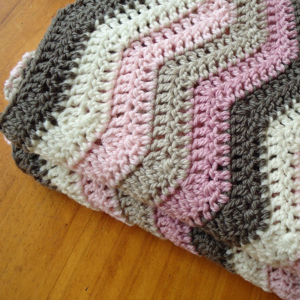 Rocky Road Hand Crocheted Baby Blanket Afghan Funds to