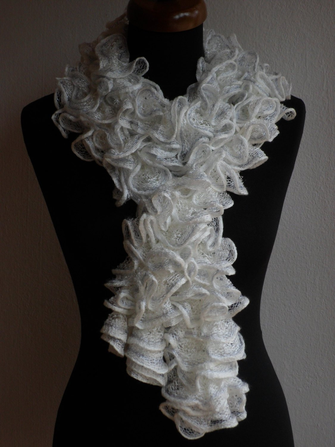 Awesome Ruffle Scarf Frilly Scarf Knitted Scarf White Scarf Knit Ruffle Scarf Of Marvelous 50 Pics Knit Ruffle Scarf