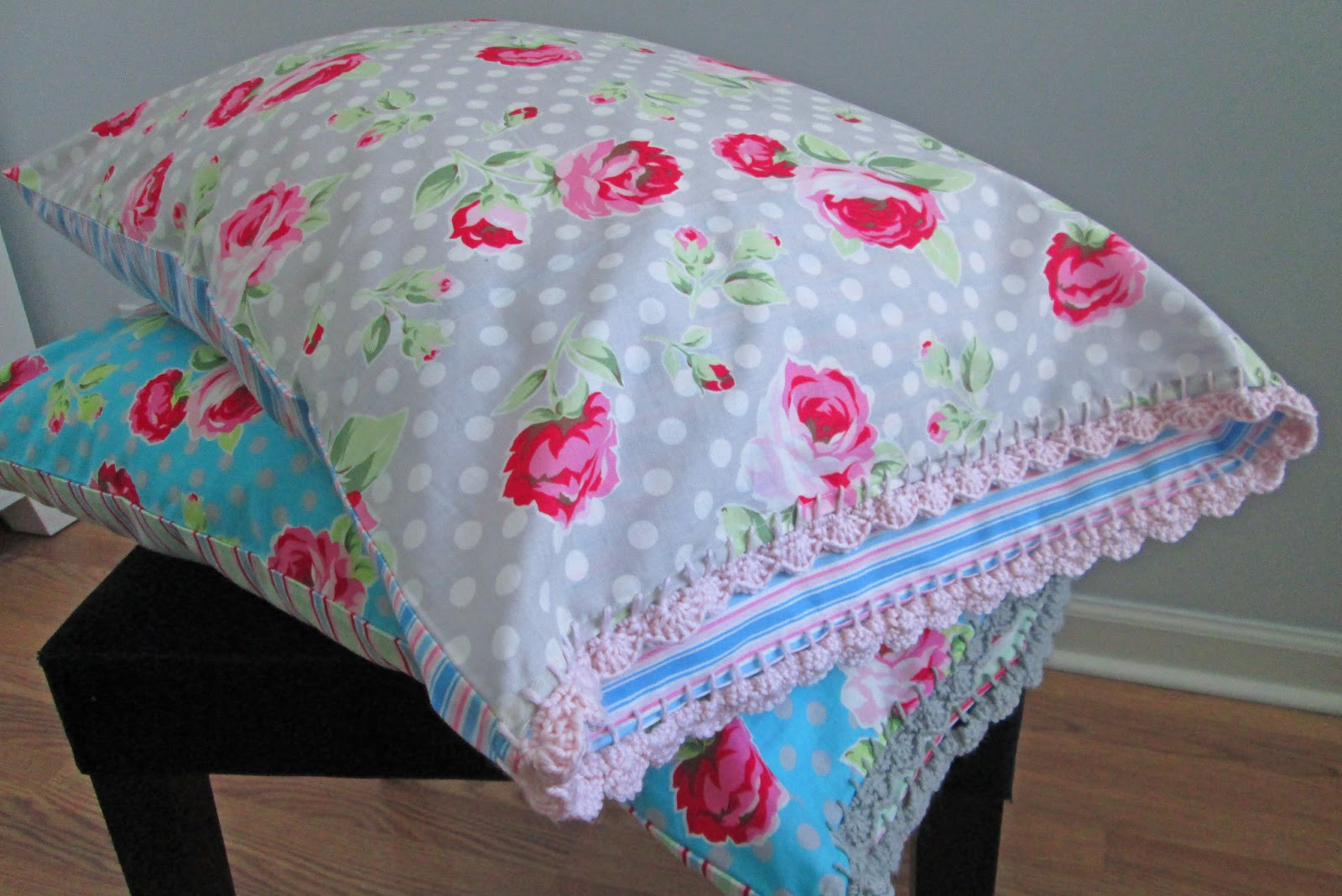 s o t a k handmade crochet edge pillow covers take two