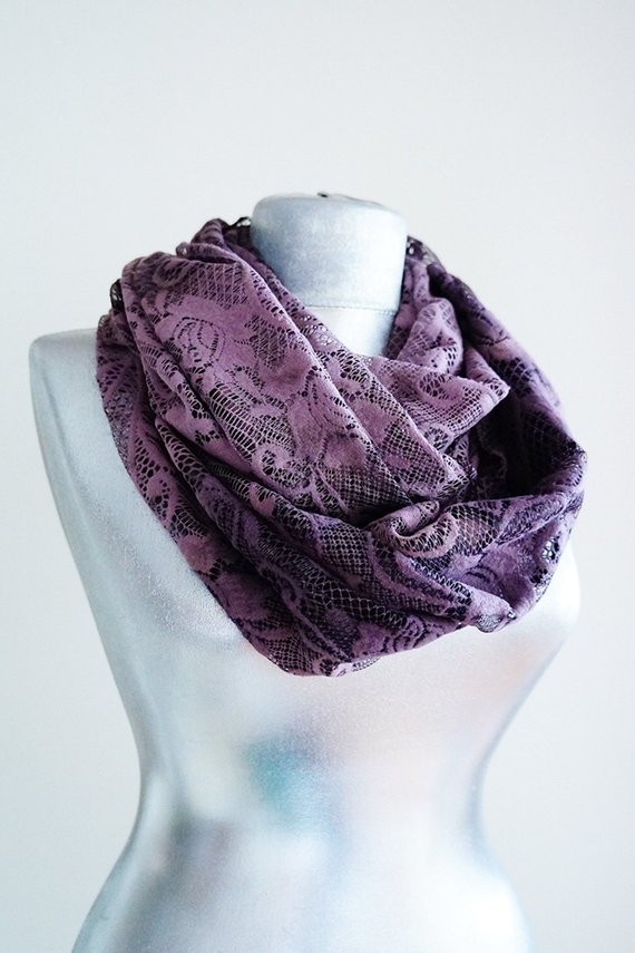 Awesome Scarf Handmade Scarf Purple Scarf Lace Scarf Floral Scarf Lace Infinity Scarf Of Charming 45 Ideas Lace Infinity Scarf
