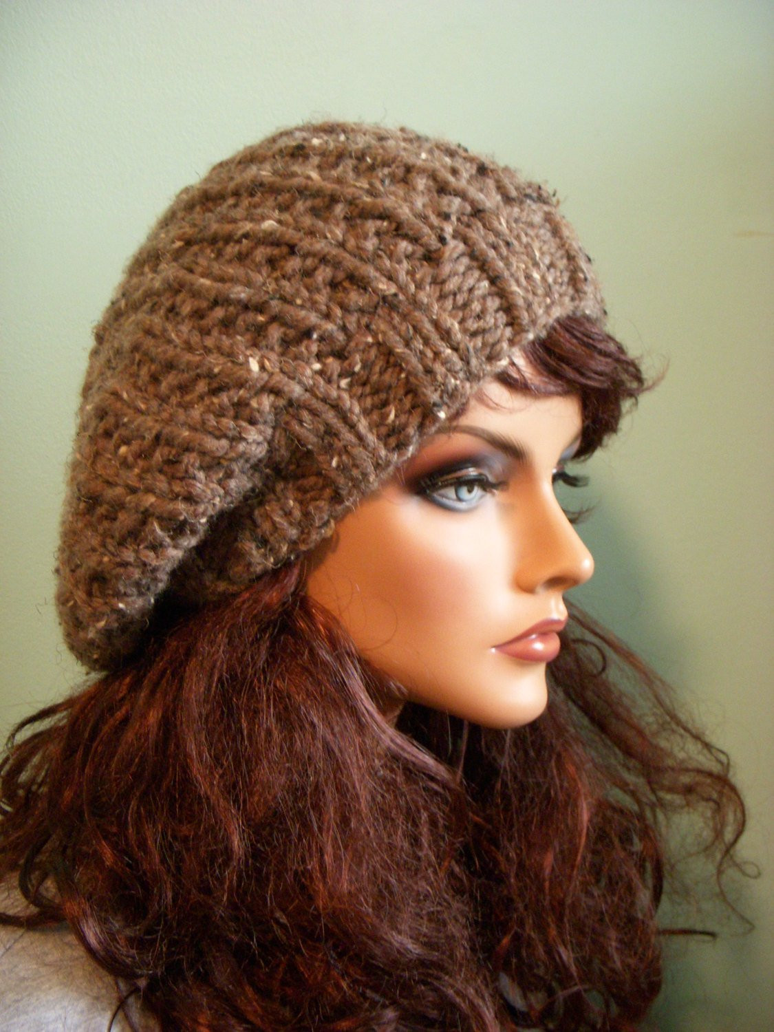 Awesome Slouchy Knit Hat Brown Tweed Beret Knit Tam Beanie Knit Beret Of Beautiful 41 Models Knit Beret