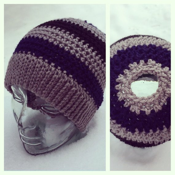 Awesome Striped Beanie with Ponytail Bun Hole Beanie with Hole for Bun Of Great 40 Pics Beanie with Hole for Bun