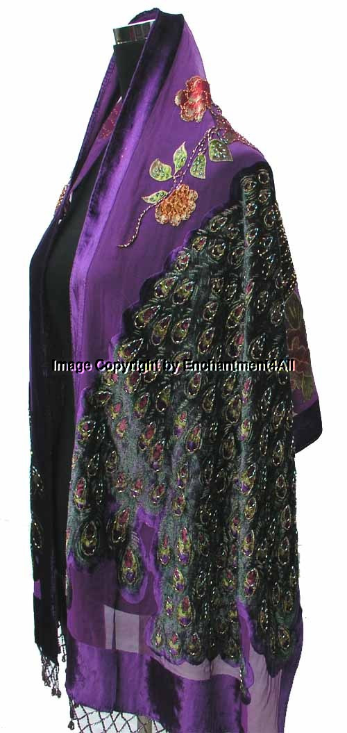 Awesome Stunning Beaded Silk Velvet Peacock Scarf Shawl Purple Peacock Shawl Of Charming 44 Pictures Peacock Shawl