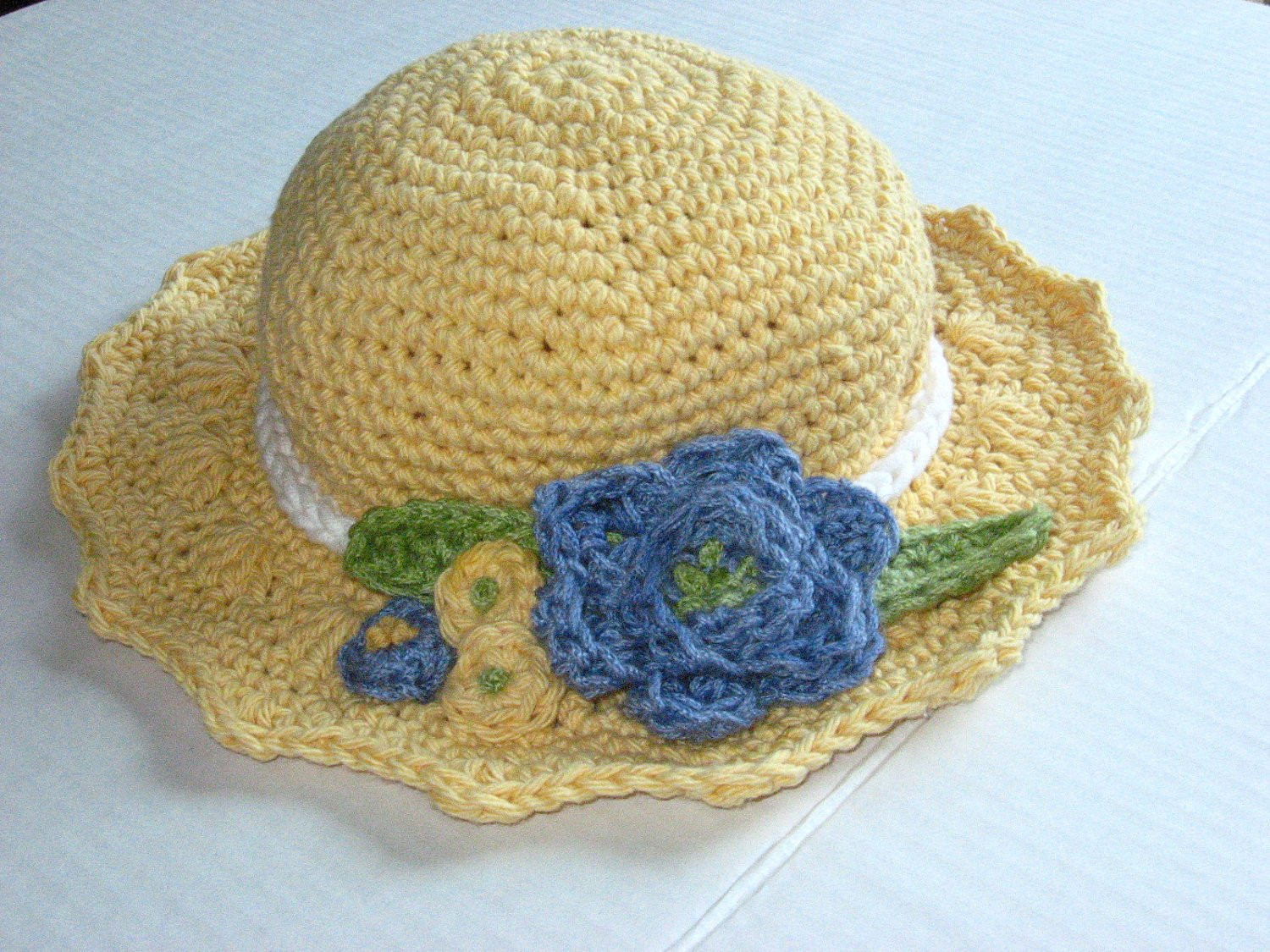 Summer Blooms Sun Hat Crochet Pattern pdf instant