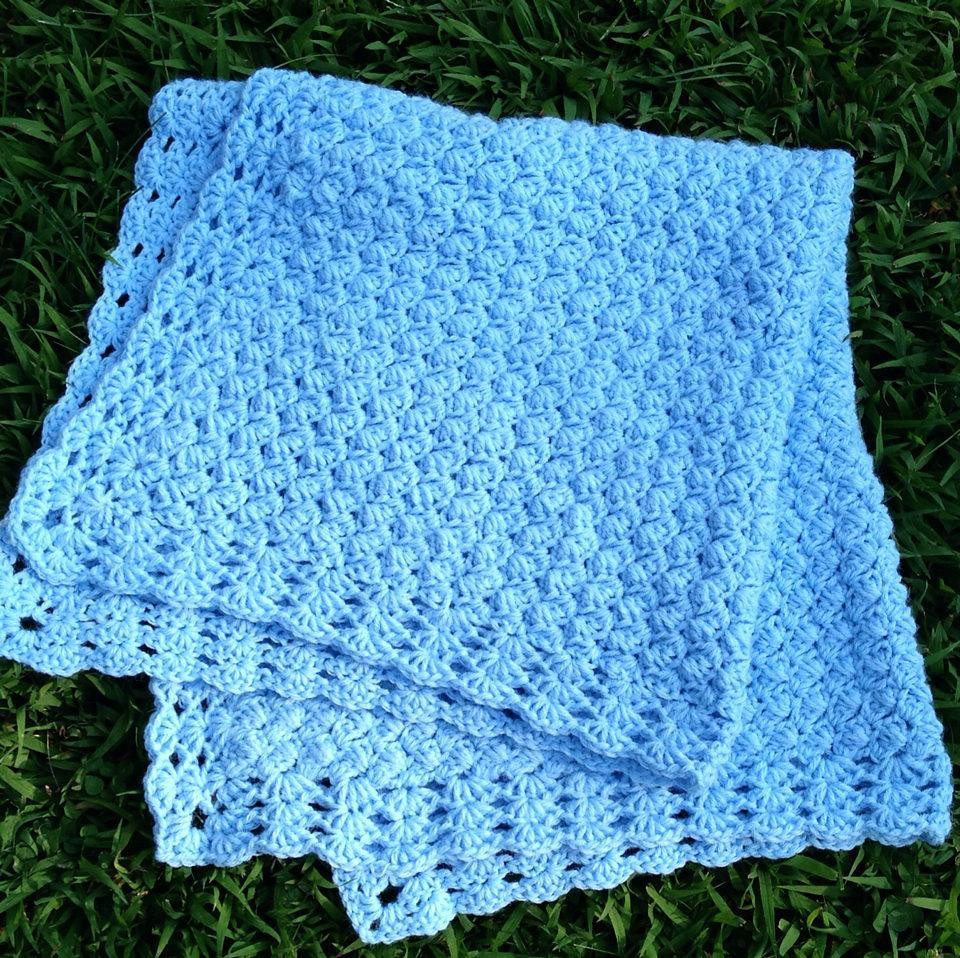 Sweet Dreams baby blanket with shell border Crochet