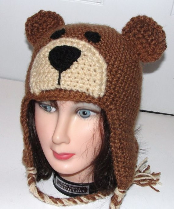 Awesome Teddy Bear Earflap Hat W Ties Adult Child toddler Crochet Adult Crochet Hat Of Contemporary 46 Pics Adult Crochet Hat