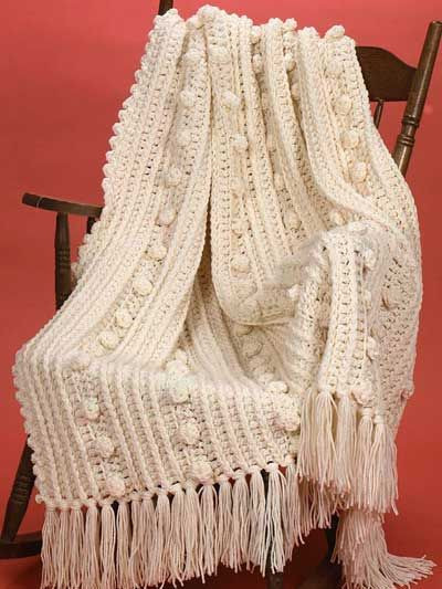 The Double Quick Aran Afghan is a chunky and cozy afghan