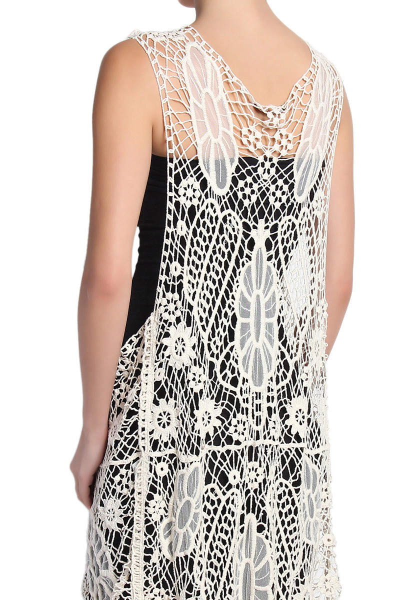 Awesome themogan Embroidered Mesh Crochet Lace Maxi Vest Layering Crochet Lace Vest Of Incredible 40 Images Crochet Lace Vest