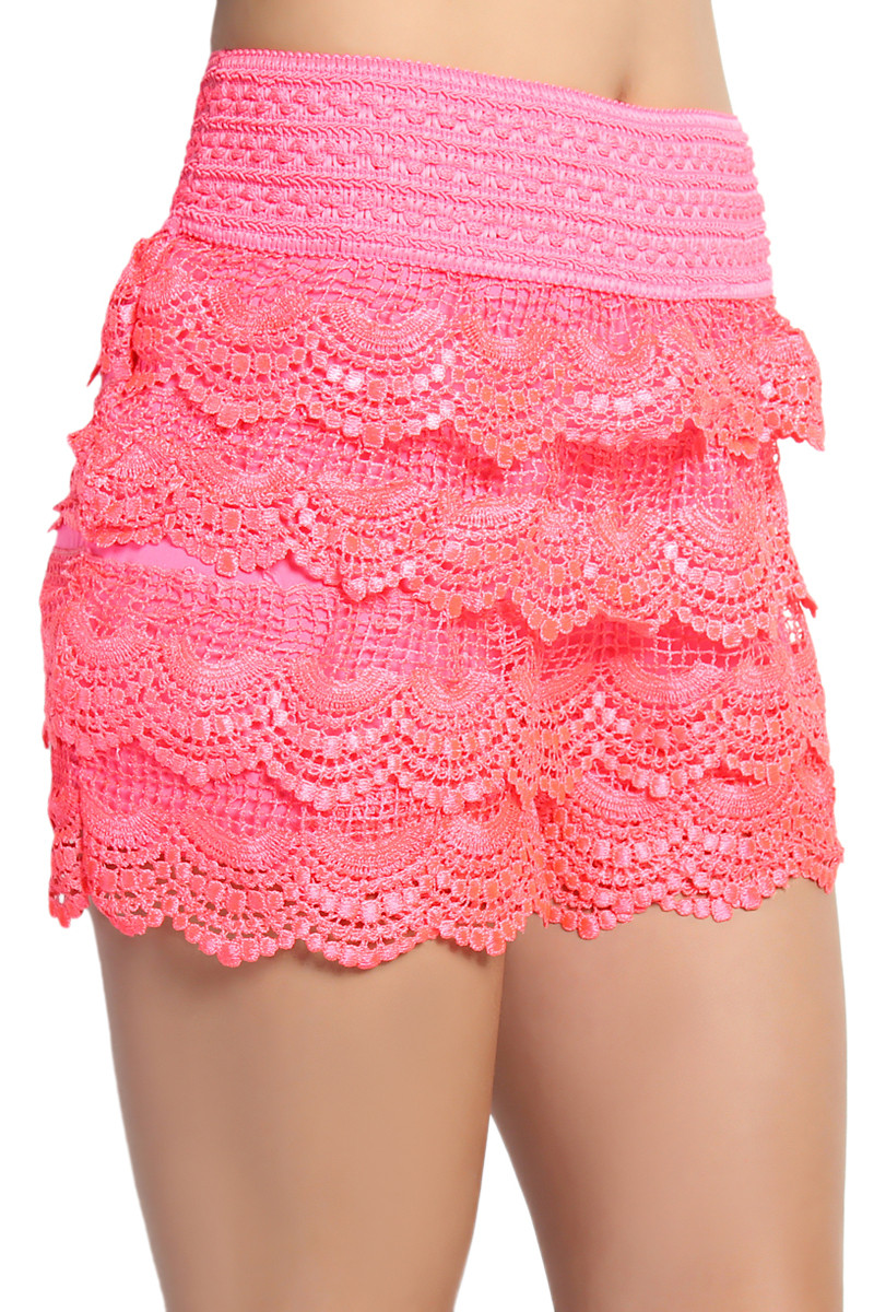 Awesome themogan Lovely Tiered Crochet Lace Stretch Waist Skort Shorts Crochet Lace Shorts Of Unique 47 Photos Crochet Lace Shorts